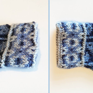 Mitten-cuff before and after crocheted edging